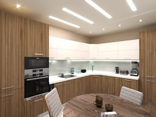 Дизайн интерьера однокомнатной квартиры в ЖК «Татьянин Парк» Кухня в скандинавском стиле от ИнтеРИВ Скандинавский