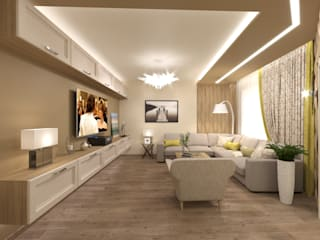 Интерьер пятикомнатной квартиры 120 м² в ЖК «Дом на Набережной» для молодой многодетной семьи Гостиная в стиле модерн от ИнтеРИВ Модерн