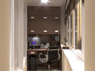 Дизайн интерьера двухкомнатной квартиры в Сокольниках : балконы в . Автор – ИнтеРИВ