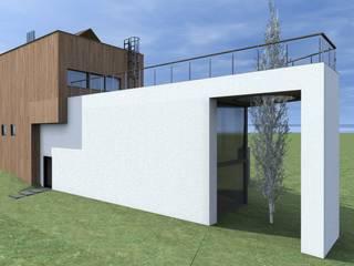 Pełna bryła od strony sąsiadów: styl , w kategorii Willa zaprojektowany przez Budownictwo i Architektura Marcin Sieradzki - BIAMS