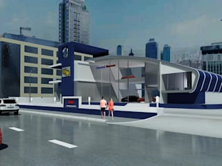 Car Showroom Adhicitta Karya Megah Dealer Mobil Modern Besi/Baja Blue
