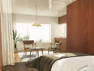 自然素材の賃貸マンション 玉川台のアパートメント モダンデザインの リビング の 平野崇建築設計事務所 TAKASHI HIRANO ARCHITECTS モダン