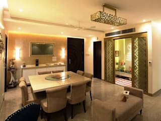 Dining & Pooja room - Residence at The Belaire, Golf Course Road:  Dining room by The Workroom