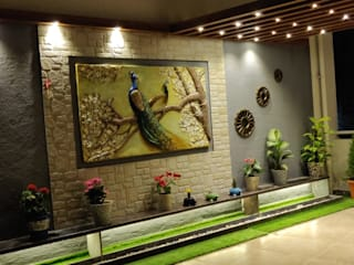 3BHK luxurious apartment with spacious terrace:  Terrace by The D'zine Studio