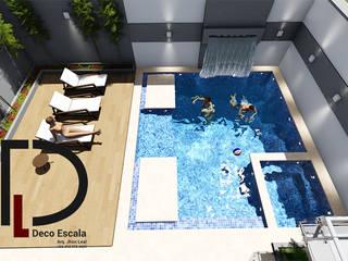 PISCINA VIVIENDA UNIFAMILIAR Balcones y terrazas de estilo moderno de DECOESCALA ARQ JHON LEAL Moderno
