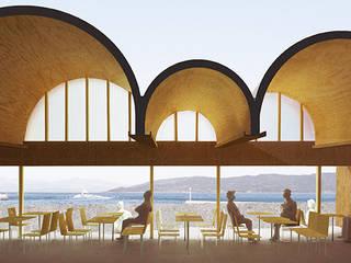 連続するアーチ屋根のレストラン 交流施設O モダンなレストラン の 平野崇建築設計事務所 TAKASHI HIRANO ARCHITECTS モダン