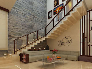 DUPLEX VILLA @ ALWARPET:  Living room by SPACE CULTURE