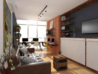 Structura Architects Living room Copper/Bronze/Brass Brown