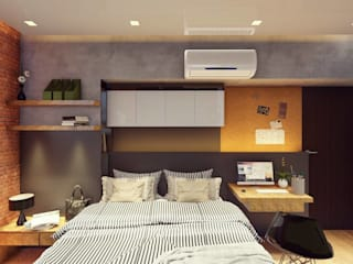 Structura Architects Small bedroom Copper/Bronze/Brass Black