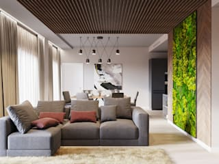 Квартира 115 кв.м. в современном стиле  ЖК I'm: Гостиная в . Автор – Студия архитектуры и дизайна Дарьи Ельниковой
