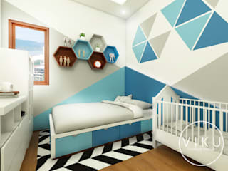 viku Modern style bedroom Wood Blue