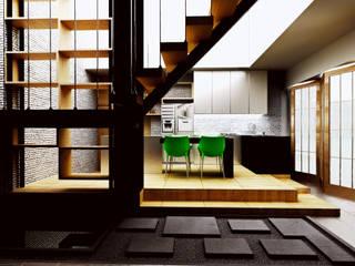 Interior Modern Kontemporer r.studio Unit dapur Kayu Lapis Wood effect