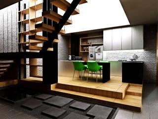 Interior Modern Kontemporer r.studio Unit dapur Kayu Lapis White