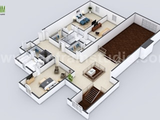 Beautiful Modern 3D Home Virtual Floor Plan Developed by Yantram Architectural and Design Services, London - UK Yantram Architectural Design Studio