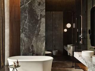levent tekin iç mimarlık BadezimmerWannen und Duschen Marmor Metallic/Silber