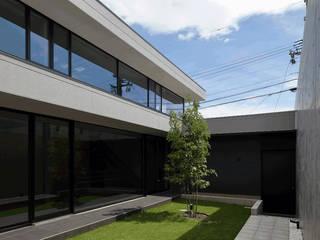 緑の芝生と青い空: (株)建築デザイン研究所が手掛けた庭です。