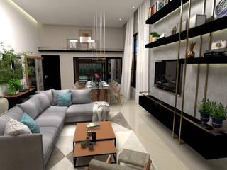 Sala de Estar com mobiliário moderno:   por Traço B Arquitetura