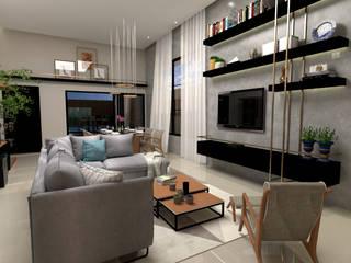 Sala de Estar com mobiliário moderno: Salas de estar  por Traço B Arquitetura