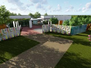 Fachada Creche: Casas familiares  por Traço B Arquitetura