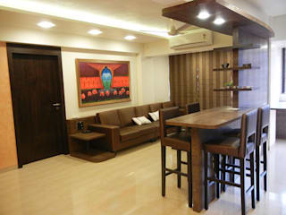 DEEPAK APT,PEDDER ROAD, MUMBAI:  Living room by Aesthos Interior Design and Consultancy