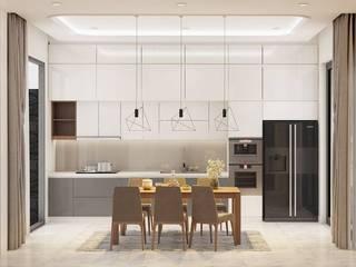THIẾT KẾ NỘI THẤT NHÀ PHỐ 3 PHÒNG NGỦ_ANH HƯỚNG Ở QUẬN 10 Nhà bếp phong cách hiện đại bởi Công ty TNHH Nội Thất Mạnh Hệ Hiện đại
