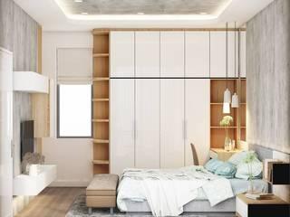 THIẾT KẾ NỘI THẤT NHÀ PHỐ 3 PHÒNG NGỦ_ANH HƯỚNG Ở QUẬN 10 Phòng ngủ phong cách hiện đại bởi Công ty TNHH Nội Thất Mạnh Hệ Hiện đại