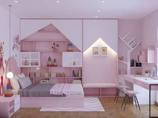 Phòng ngủ nhỏ màu hồng điệu đà cho những cô nàng công chúa:  Phòng ngủ nhỏ by Công ty TNHH Nội Thất Mạnh Hệ