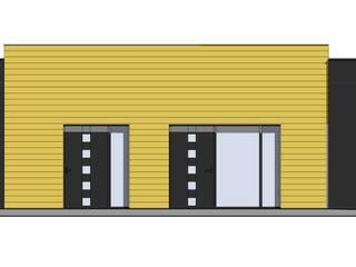 nowoczesna elewacja domu parterowego: styl , w kategorii Okna plastikowe zaprojektowany przez Budownictwo i Architektura Marcin Sieradzki - BIAMS