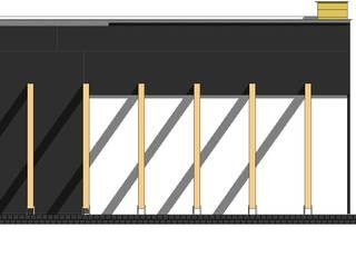 minimalistyczny dom z szaro-białą elewacją: styl , w kategorii Ściany zaprojektowany przez Budownictwo i Architektura Marcin Sieradzki - BIAMS