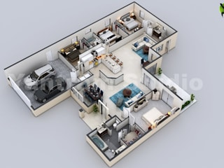 3D Virtual Floor Plan of Luxurious Villa Design by Yantram Architectural Design Studio, Chicago - USA Yantram Architectural Design Studio