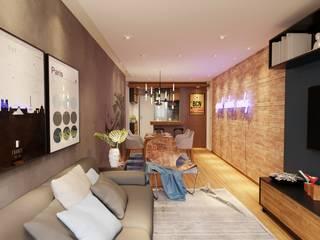 Projeto de Apartamento Design de Interiores |  Recreio dos Bandeirantes | RJ: Salas de estar  por Gelker Ribeiro Arquitetura | Arquiteto Rio de Janeiro