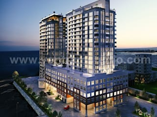 3D Exterior Modeling Of A New High-Rise Luxury Building Developed by Yantram 3D Architectural Visualisation, Vancouver - Canada Yantram Architectural Design Studio Modern