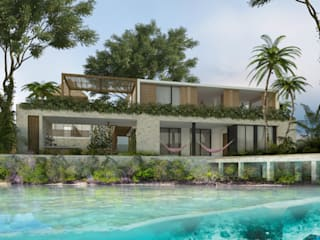 Casa Maravilla, Bacalar Quintana Roo: Casas de estilo  por Obed Clemente Arquitectura,