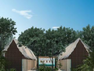 Hostalito Tulum: Cabañas de madera de estilo  por Obed Clemente Arquitectura,