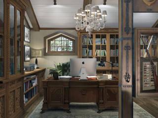 Частная библиотека в мансардном этаже загородного дома: Рабочие кабинеты в . Автор – Novik Design