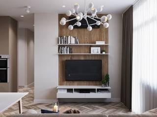 Квартира 55 кв.м. в современном стиле в ЖК «Оранж Парк».: Гостиная в . Автор – Студия архитектуры и дизайна Дарьи Ельниковой