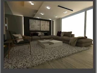 Departamento uso Habitacional: Salas de estilo  por Arq. Vianey Pineda