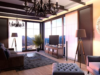 Интерьер гостиной дома в стиле прерий.: Гостиная в . Автор – ARCH IG,