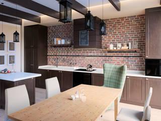 Кухня-столовая. Дом в стиле прерий.: Встроенные кухни в . Автор – ARCH IG,