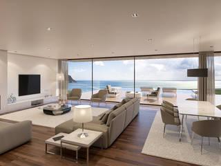 Casa SP1 - Moradia em Sesimbra - Projeto de Arquitetura - sala: Salas de estar  por Traçado Regulador. Lda,Moderno Madeira Acabamento em madeira