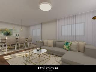 Sala de estar e jantar. minna interiores Leiria:   por Minna Interiores