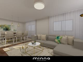 Sala de estar e jantar. minna interiores Leiria por Minna Interiores Moderno