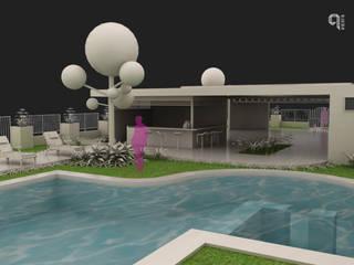 9 Viento Arquitectos モダンデザインの テラス コンクリート 白色