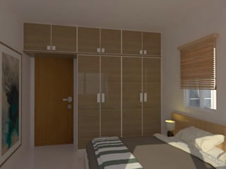 Divyasree Republic Whitefiled_2BHK:  Bedroom by VIVRE ARCHITECTE