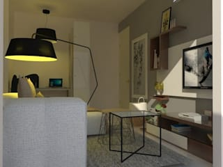 Divyasree Republic Whitefiled_2BHK:  Living room by VIVRE ARCHITECTE