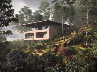 CASA EN LA CAÑADA: Casas de campo de estilo  por ADRIAN CARDENAS BUILDING WORKSHOP