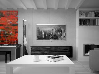 Квартира гейм-дизайнера, 50 м2 Гостиные в эклектичном стиле от Characteriors Эклектичный