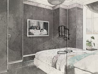 Art квартира в Dominion Спальня в эклектичном стиле от Characteriors Эклектичный