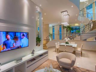 Casa Alphaville Piracicaba Salas de estar modernas por Designer de Interiores e Paisagista Iara Kílaris Moderno