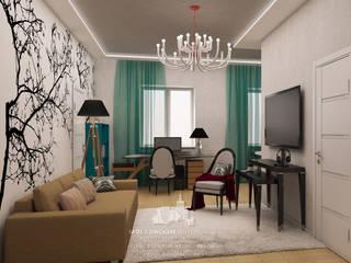 Интерьер сталинки в современном стиле с 2-мя комнатами: Гостиная в . Автор – Архитектурное бюро «Парижские интерьеры»